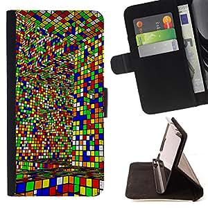 Jordan Colourful Shop - cube colorful game art design interior layrinth For HTC DESIRE 816 - < Leather Case Absorci????n cubierta de la caja de alto impacto > -