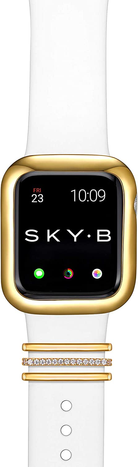 SKYB Minimalist Apple Watch Case with London Watch Band Charms and Silicone Sports Band Set - 18K Yellow Gold Plated with Cubic Zirconia for 42mm Apple Watch Series 1,2,3