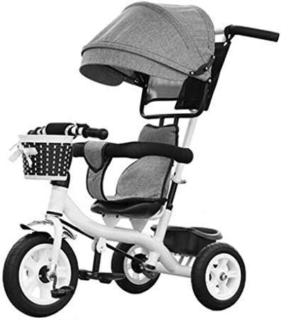 Bicicletas para niños Bajo Techo, en Exteriores pequeña Triciclo Tres Ruedas Trolley Awning Rueda de plástico sólido niña de Gray White Boys Bike para bebés de 6 Meses a 6 añ: Amazon.es: