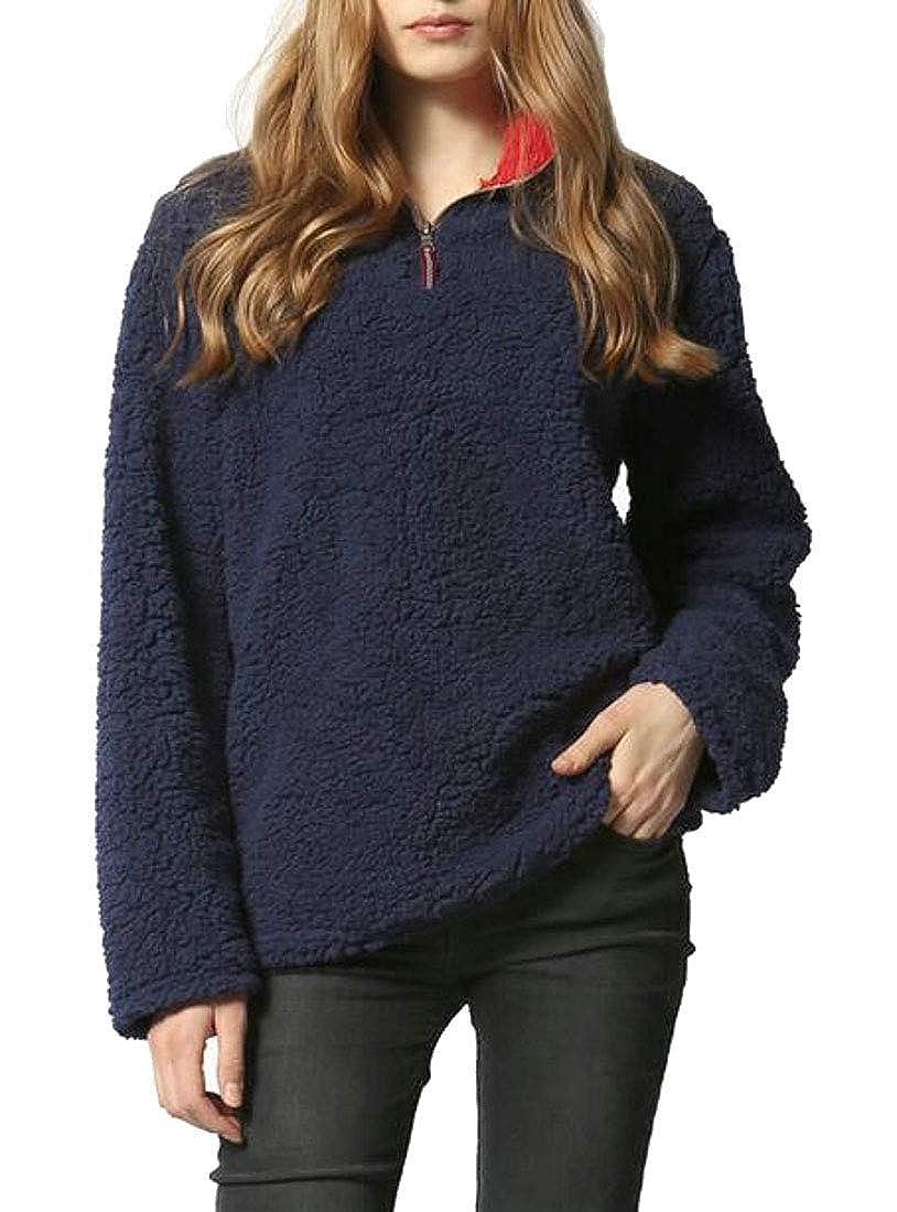 Pandapang Womens Soft Plus Size Pullover Plush Warm Stylish Top Sweatshirts