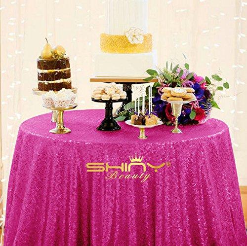 ShinyBeauty Diameter 48in Round Sequin Tablecloth Sequin Table Cloth Sequin  Fabric (Hot Pink)