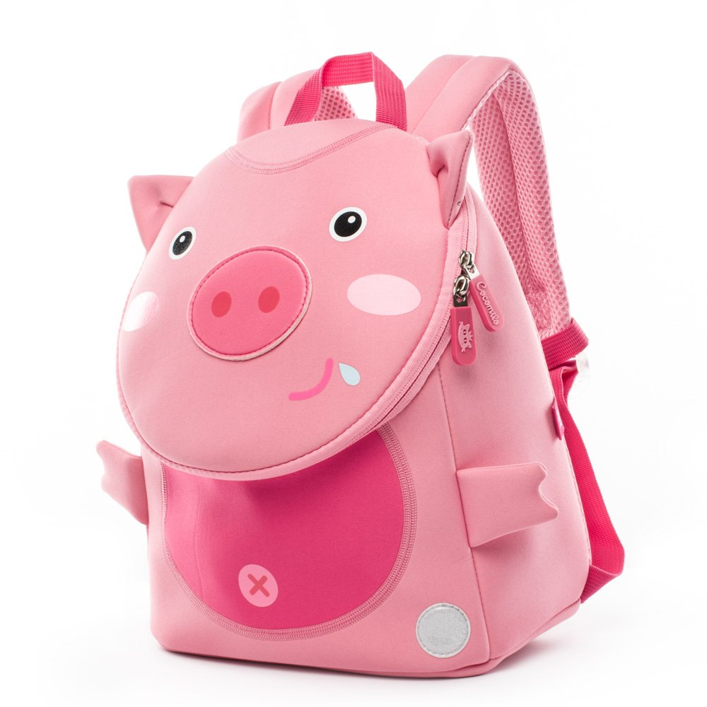 Cocomilo Toddler Pig Backpack Waterproof Kids School Bag Cute Animal Baby Bag with Anti Lost Leash