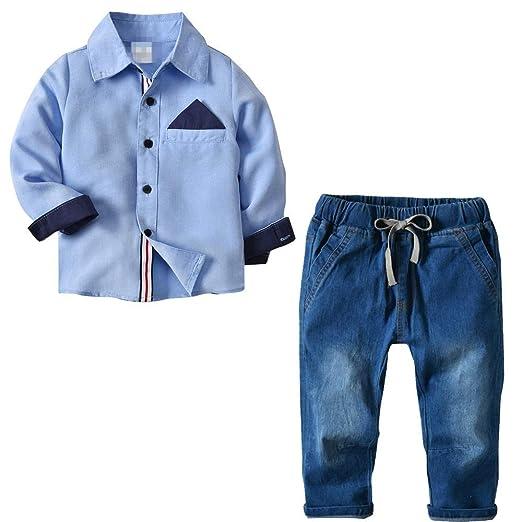 Cvbndfe Trajes de Caballero Chico Camisa Suave de 2 Piezas para ...