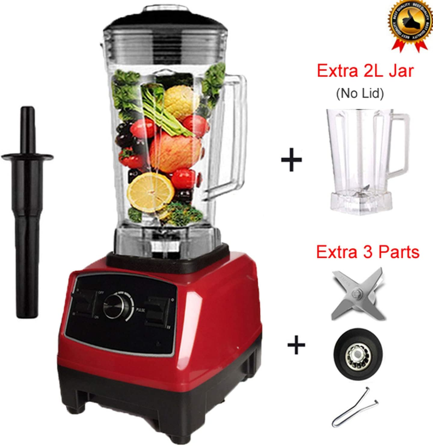 BPA free 2200W Heavy Duty Commercial Blender Professional Blender Mixer Food Processor Japan Blade Juicer Ice Smoothie Machine,Red jar fullpart