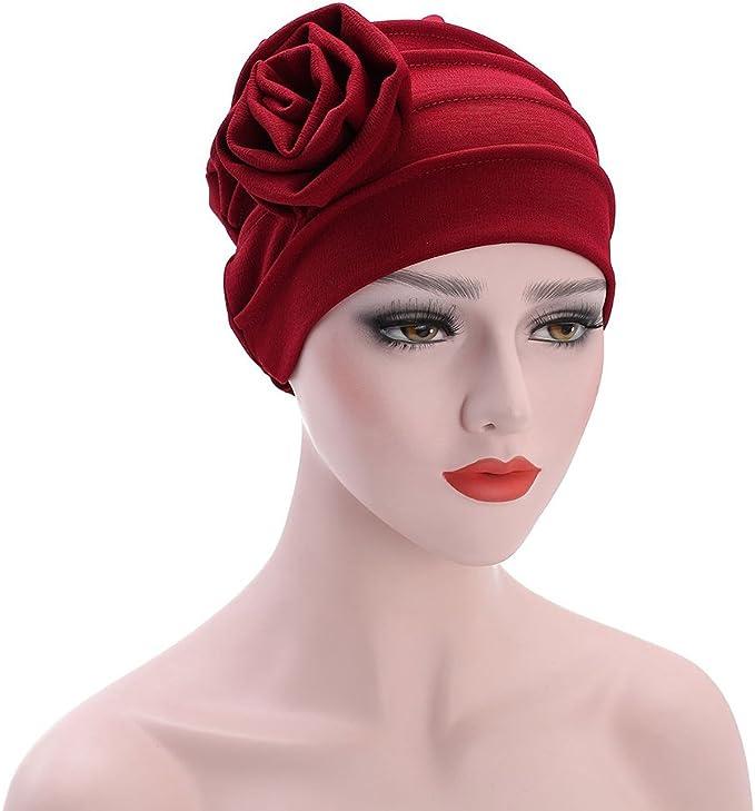 Finance Plan Womens Pleated Floral Muslim Hijab Cap Stretch Chemo Turban Hat Head Scarf
