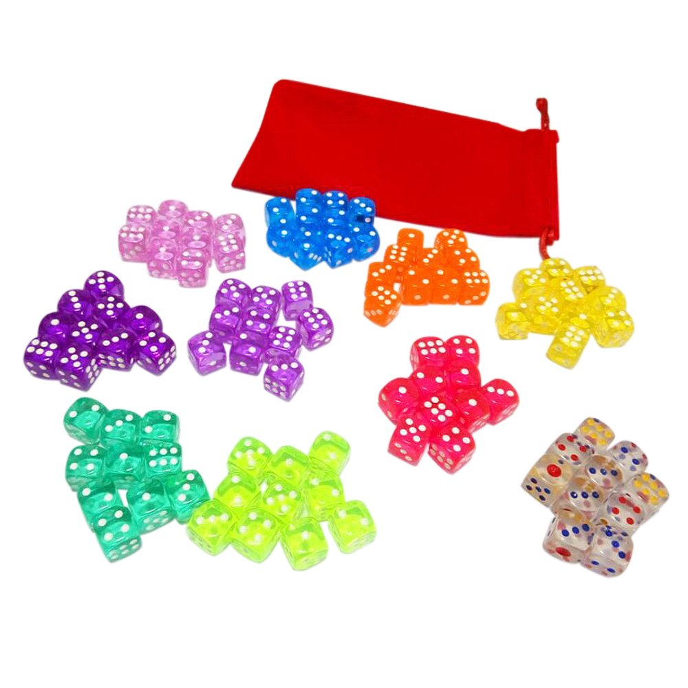 100 Translucent Colored Dice Set (Treasured Gems Collection) From Visual Elite Bringing Fun to a Game or Learning Math. Bonus Offer Free Dice Bag Included by Visual Elite