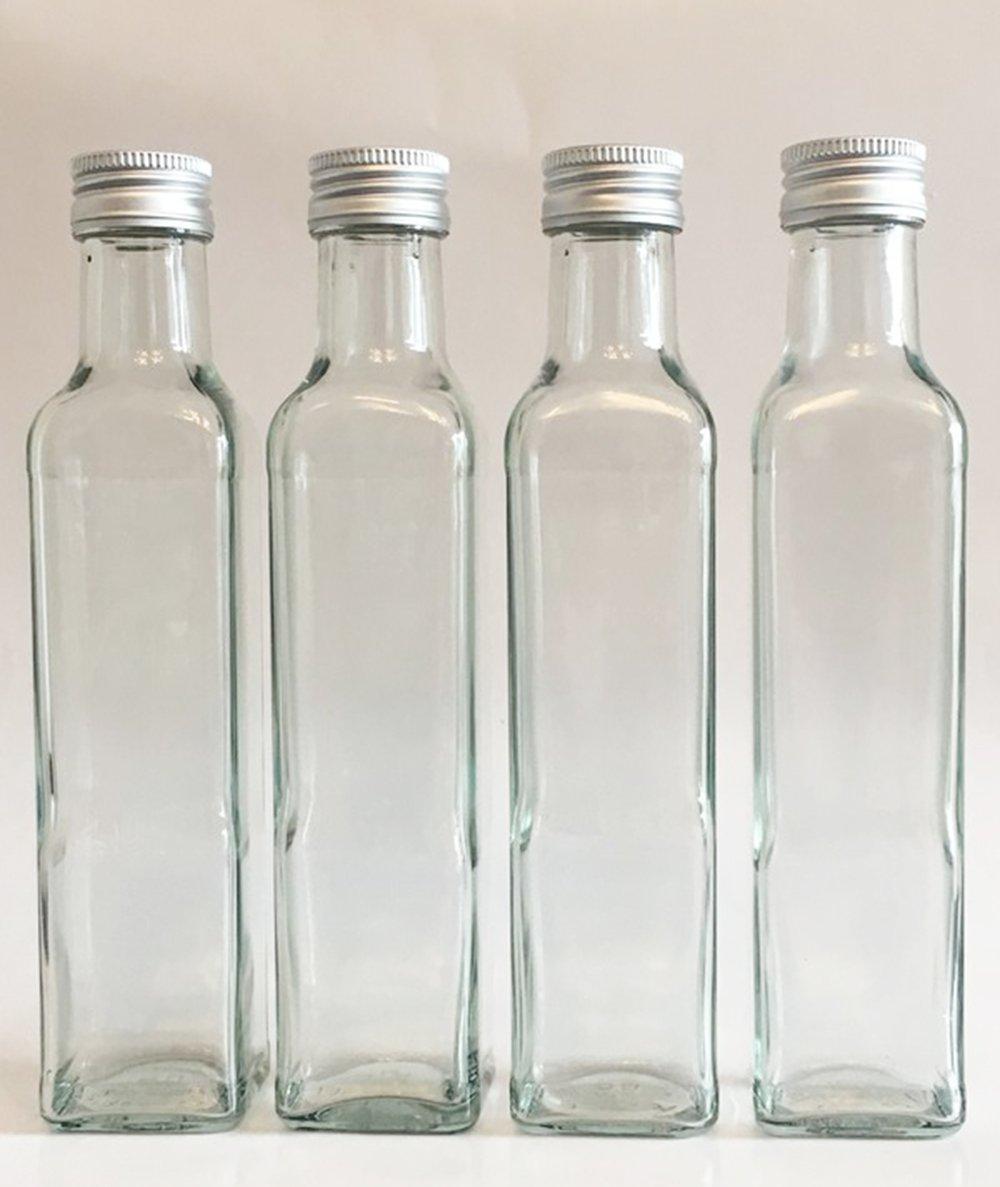 Vitrea Maraska - Botellas de cristal vacías (12 unidades, 500 ml, con tapón enroscable, base cuadrada): Amazon.es: Hogar