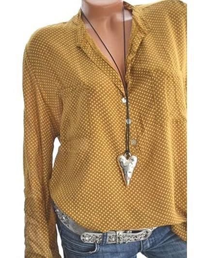 Minetom Mujer Blusa Verano Otoño Casual Manga Largas Camisa T-Shirt Moda Elegante V Cuello Punto de Ola Camiseta Flojo Tops: Amazon.es: Ropa y accesorios