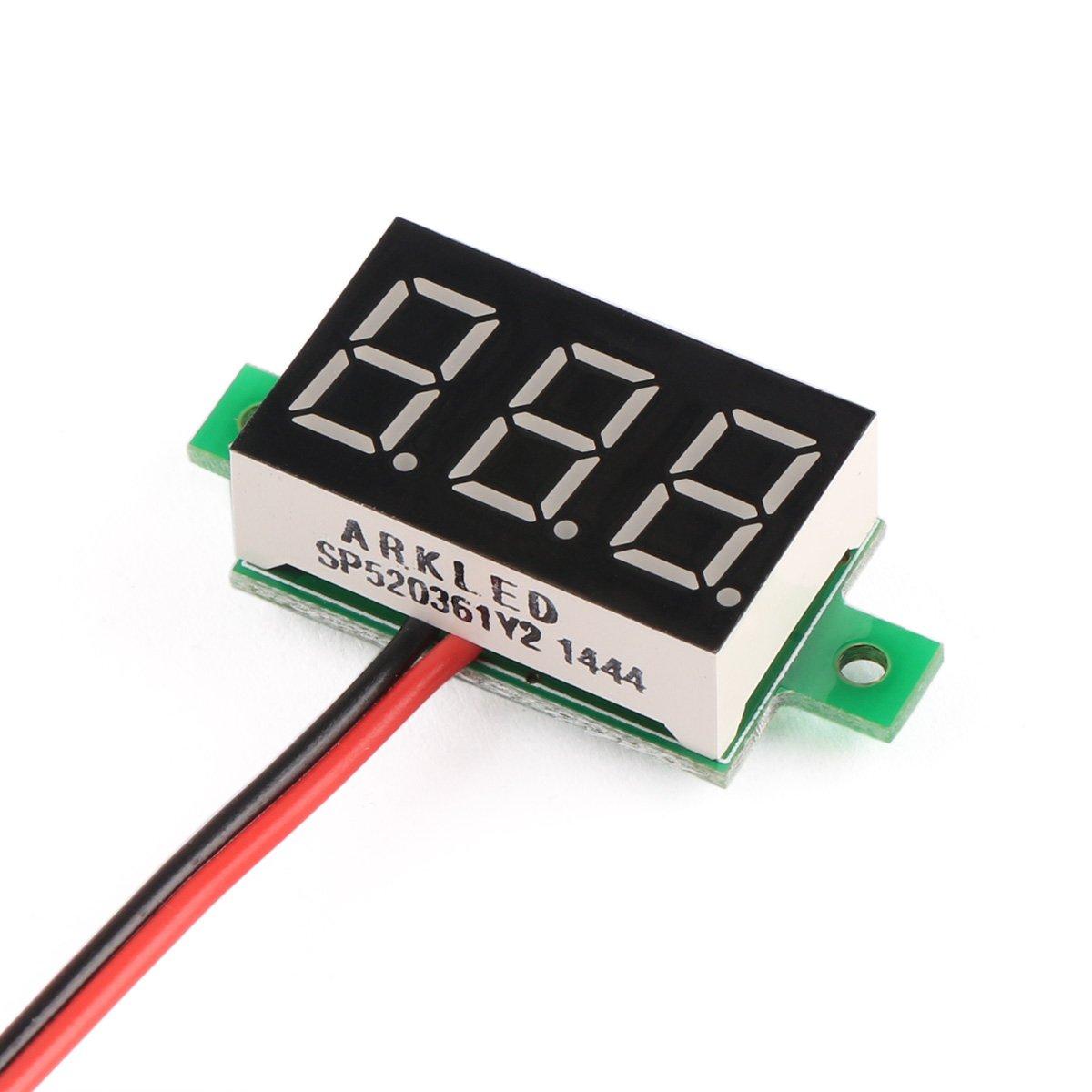 Drok Small Digital Dc Volt Panel Electronics Voltmeter Motorcycle Battery Monitor Car Voltage Tester 12 24v 036 330v Blue Led 2 Wires Home Improvement