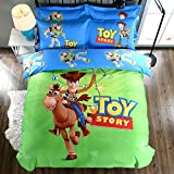 CASA 100% Cotton Kids Bedding Set Boys Toy Story Duvet cover and Pillow cases and Flat sheet,4 Pieces,King,Woody and Buzz Lightyear