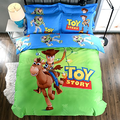 Bedding Set Story Toy (CASA 100% Cotton Kids Bedding Set Boys Toy Story Duvet cover and Pillow cases and Fitted Sheet,4 Pieces,Full,Woody and Buzz Lightyear)
