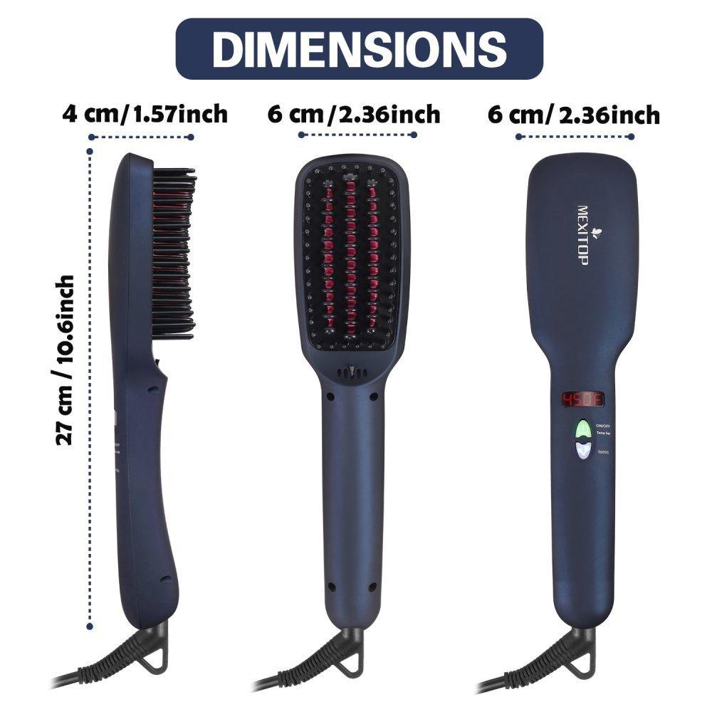 MEXITOP 2 en 1 Cepillo alisador de pelo con Tecnología de Calentamiento MCH + Cepillo Iónico para Diferentes Tipos de Cabello, Pantalla LED, ...