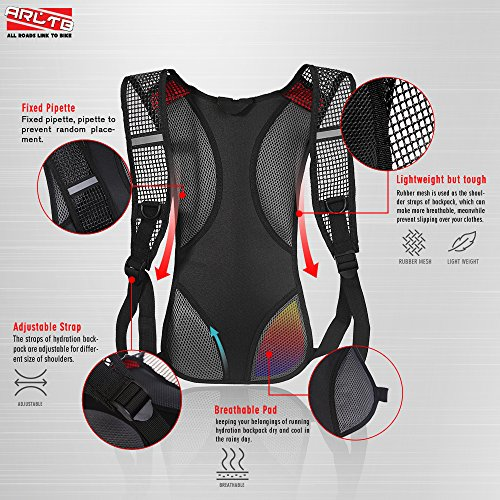 Arltb 2L (70 oz) Hydration Pack with Bladder Hydration Backpack Running Backpack Cycling Backpack Waterproof Backpack Tactical Hydration Pack for Running Cycling Bladder with FDA Approval