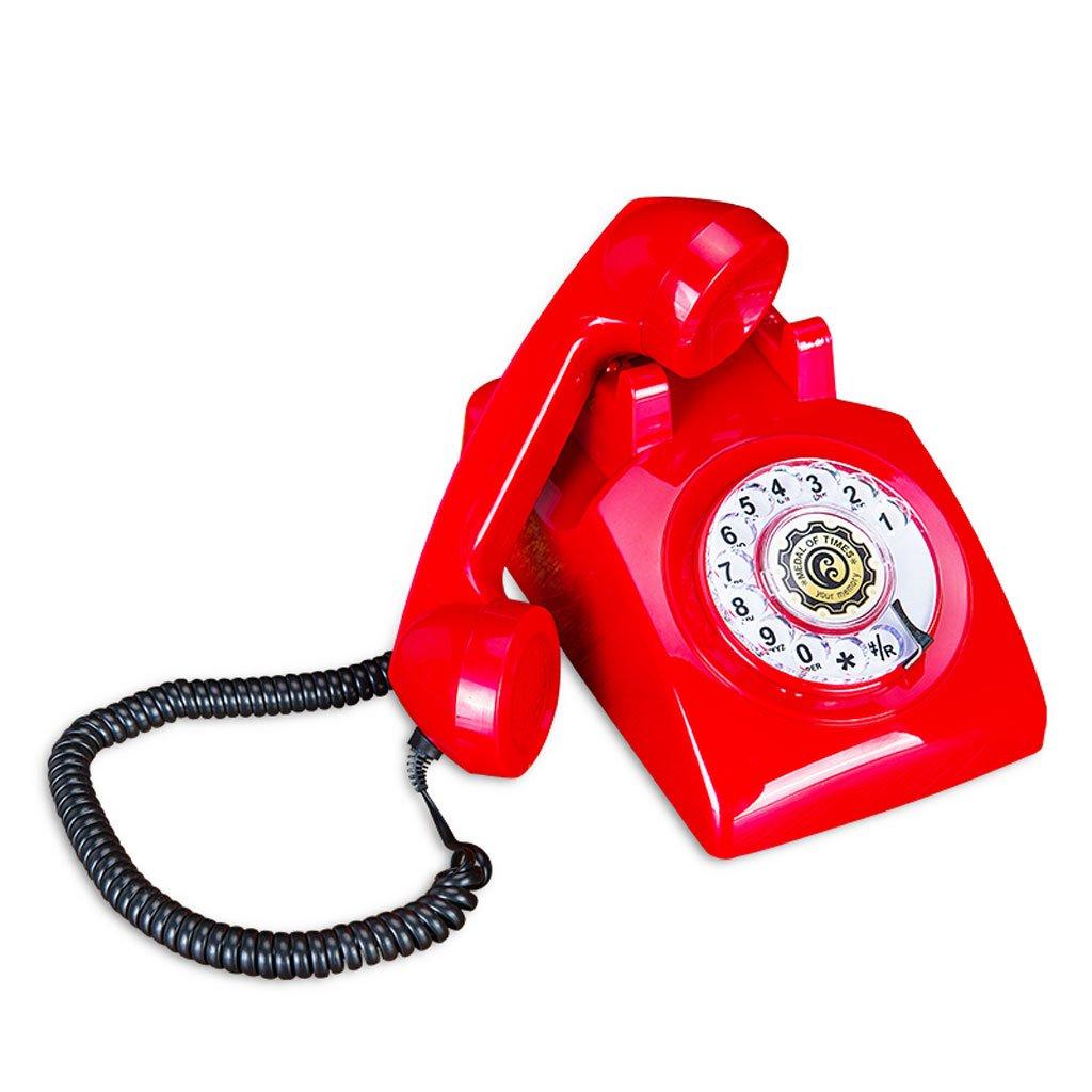 WXL 電話のヴィンテージアンティークレトロ固定家のオフィス電話ブラックメタルロータリービジネスの固定電話 (色 : 赤, サイズ さいず : L22CM*H14CM) L22CM*H14CM 赤 B07DT1TC1X