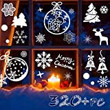 R HORSE 320 PCs 12 Sheets Snowflakes Window Clings PVC Winter Decal Stickers for Christmas Decorations Winter Ornaments Xmas Party Stickers (White Snowflakes/Baubles/Bells/Trees/Reindeer Included)
