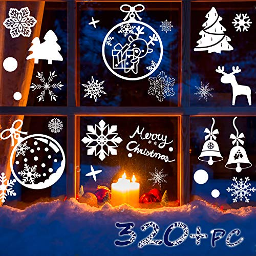 R HORSE Christmas Decoration Snowflakes Window Clings PVC Winter Decal Stickers for Christmas Winter Ornaments Xmas Party Stickers (Snowflakes/Baubles/bells/trees/reindeer Included) - 320 PC 12 Sheet ()