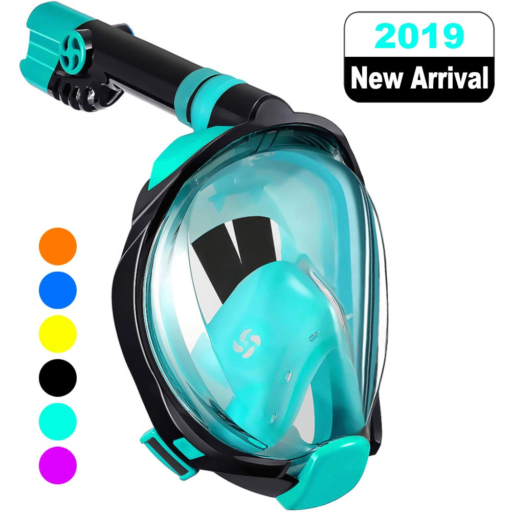 WSTOO Full Face Snorkel Mask,Advanced Safety Breathing System Allows You to Breathe More Fresh Air While Snorkeling,180 Panoramic Anti Fog Anti Leak Foldable Snorkel Mask for Adult and Kids by W WSTOO