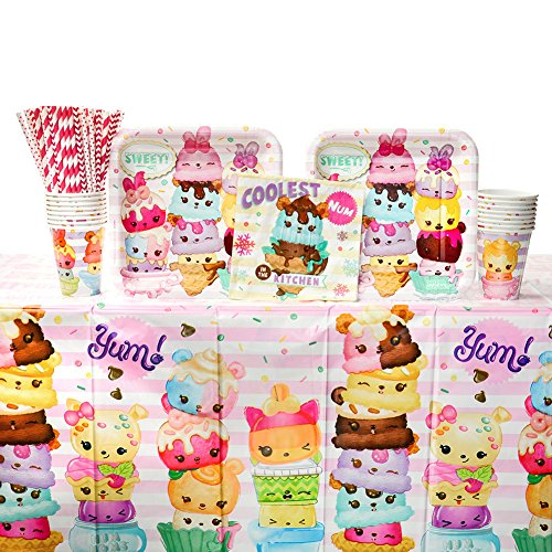 Num Noms Party Supplies Pack for 16 Guests: Straws, Dinner Plates, Luncheon Napkins, Table Cover, and (Cedar Market Table)