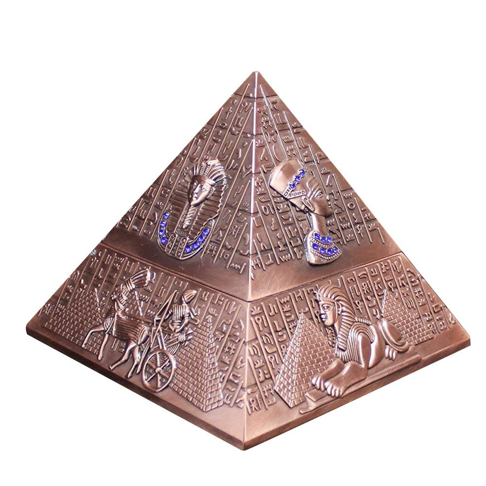 YJY^MAX Pyramid Sigaro sigaretta posacenere Ashtray con coperchio, colore: Argento/posacenere, Pub Portacenere, portacenere per esterno, giardino, Posacenere YJYMAX