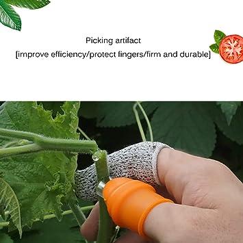 Cuchillo de Jardín, SUNJULY Cuchillo de Dedo Herramienta de Selección de Frijoles Recogedor de Verduras Separador de Pimiento de Recolección Agrícola (Cortador de Pulgar + Subierta de Dedo): Amazon.es: Bricolaje y herramientas