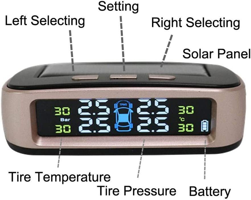 Sayolala Tire Pressure Detector Car Solar TPMS Tyre Pressure Monitoring System Set with 4 External Sensor Car Scanner Scan Tool