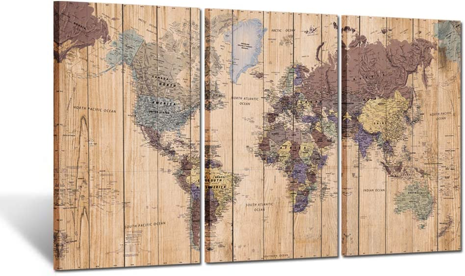 Kreative Arts Large Size 3 Panel Vintage World Map Canvas Wall Art for Home Decor Map of The World Posters Prints Painting Modern Artwork Wooden Framed Maps Office Decor