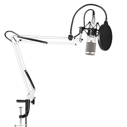 Neewer NW-800 Kit de Microphone à Condensateur de Studio avec NW-35 Support de Bras avec Embase Noire et Pince de Table Filtre Anti-pop (Blanc et Argent)