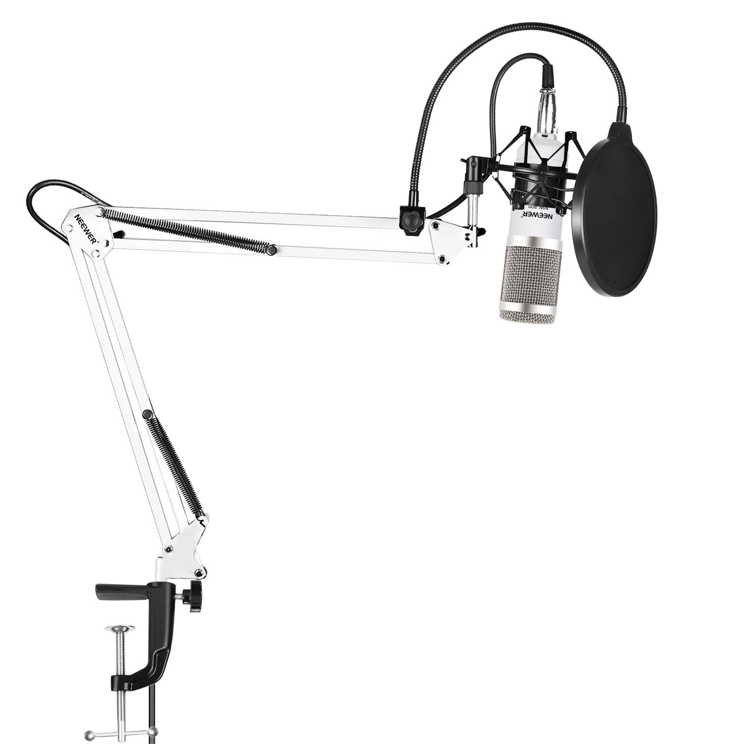 Neewer NW-800 Pro Studio Broadcasting Recording Condenser Mic Kit with NW-35 Adjustable Mic Suspension Scissor Arm Stand with Black Shock Mount and Table Mounting Clamp, Pop Filter(White and Silver)