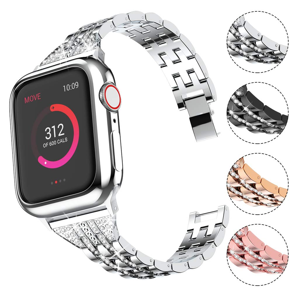 Compatible with Apple Watch Band with Case 38mm 40mm for Women, CTYBB Rhinestone Metal Jewelry Wristband Strap Replacement for iWatch Bracelet Series 4/3 / 2/1, Silver by CTYBB