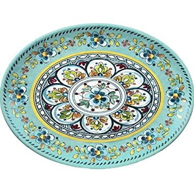 Le Cadeaux Madrid Turquoise 12  Oval Platter 282 MADT
