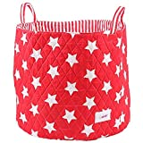 Minene Large Storage Basket with Red Stars - star storage baskets, round storage baskets, large fabric storage basket - great for toy storage, kids storage and as a laundry hamper by Minene