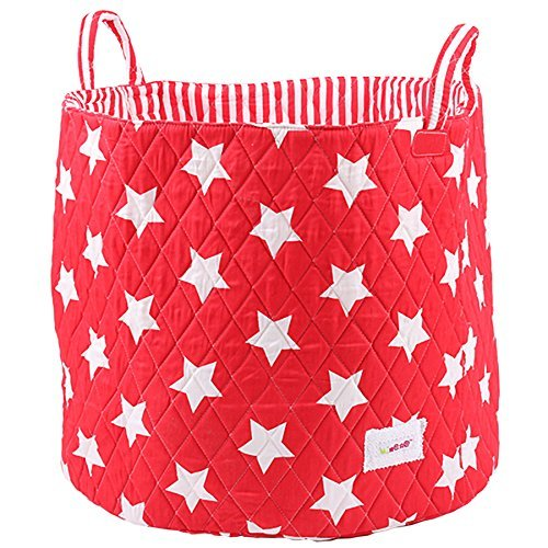 Minene Large Storage Basket with Red Stars - star storage baskets, round storage baskets, large fabric storage basket - great for toy storage, kids storage and as a laundry hamper by Minene by Minene