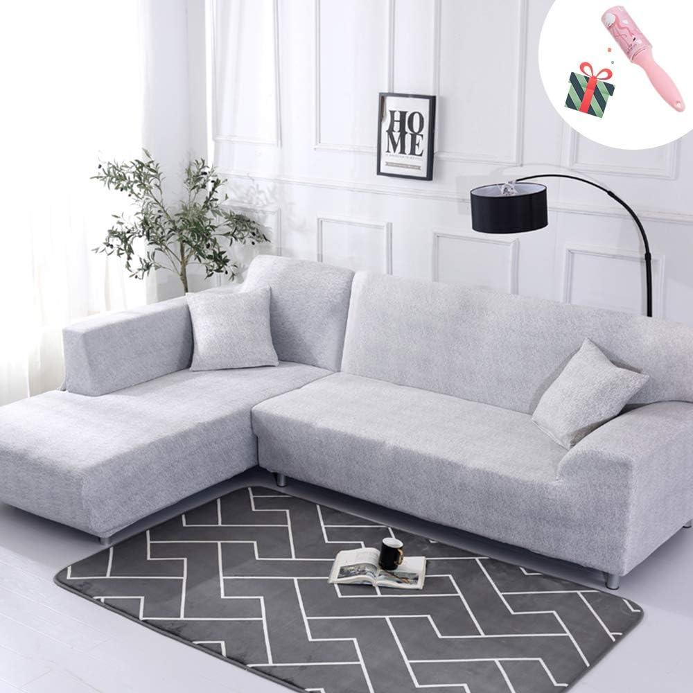 Funda Sofá Chaise Longue de 3 plazas Estiramiento, Morbuy Mármol Impresión Universal Cubierta de Sofá Cubre Sofá Funda Furniture Protector Antideslizante Sofa Couch Cover (4 plazas,Gris Blanco)