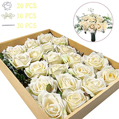 Buy Watmaid Real Looking Artificial Flowers Roses Combo Box Set For Diy Bouquets Centerpieces Floral Arrangements Home Decor White Online At Low Prices In India Amazon In