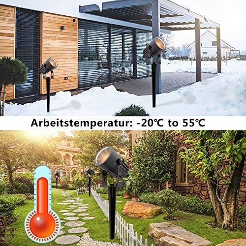 Gartenleuchten,Aourow 3W x 4 Warmweiße LED Garten landschafts beleuchtung mit Metall-Erdspieß,IP65 Wasserdichter Niederspannungs-Außenstrahler für Garten/Rasen/Terrasse/Gehweg/Baum,4er-Set