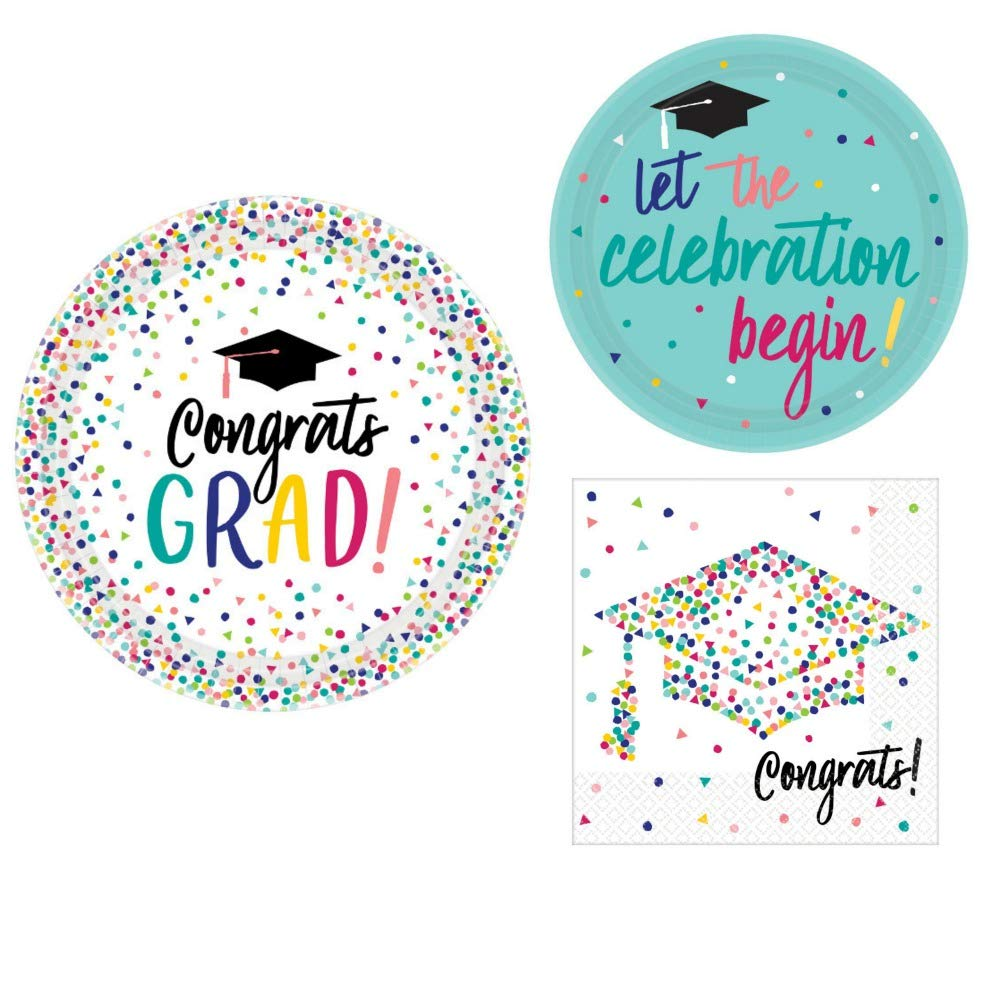 Graduation Party Supply Pack for 18 Guests - Bundle Includes Paper Plates & Napkins - Yay Grad Design