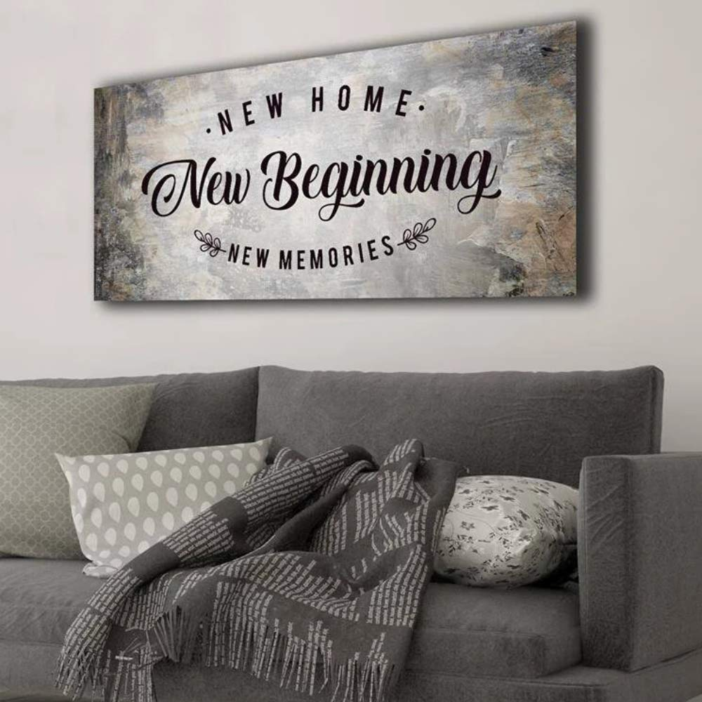 Sense of Art | New Home New Beginning Quote | Wooden Framed Canvas | Ready to Hang Wall Art for Home Decoration