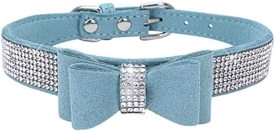 PERZOE Personalized Bowknot Tie Dog Collars Adjustable Rhinestone Pet Collar Faux Leather Necklace for Pet Small Medium Puppy Dogs Cats Light Blue S