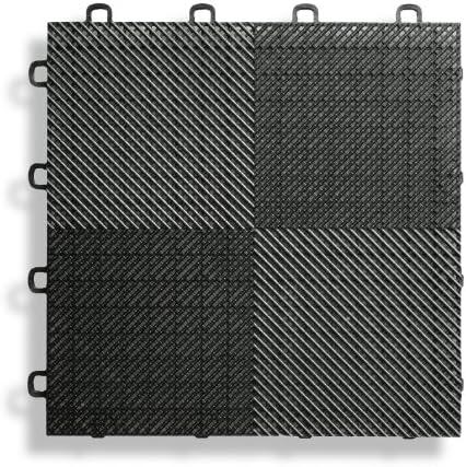 BlockTile B2US4230 Paquete de baldosas entrelazadas para pisos de terrazas y patios color negro paquete de 30