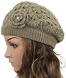 MINAKOLIFE Women's Super Soft Flower Laciness Knit Beanie Hat Berets