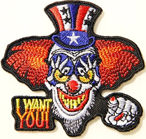 (I WANT YOU Uncle Sam Joker Biker Funny Logo Sign Badge Patch Iron on Embroidered Applique Jacket T shirt)