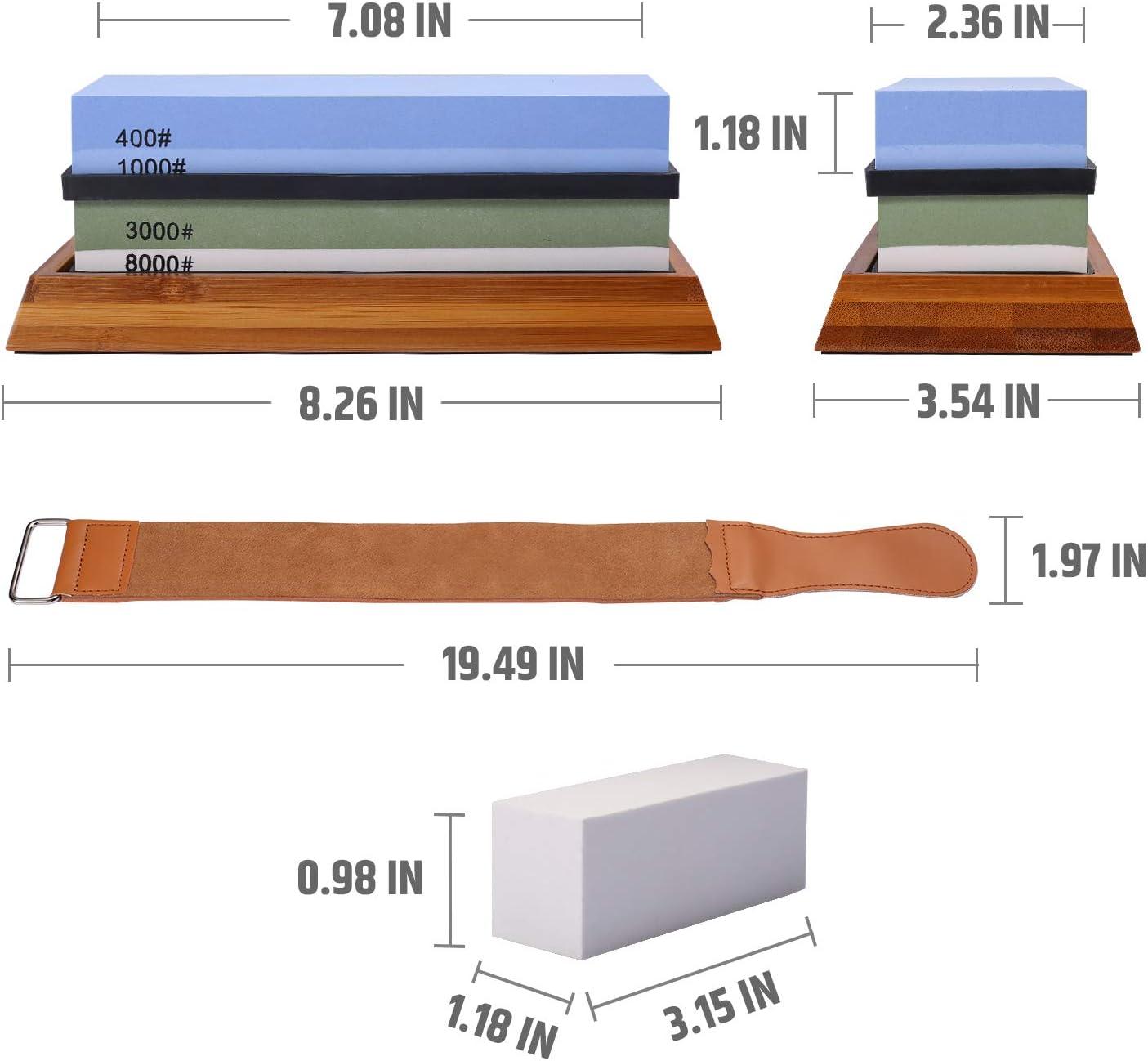 3000//8000 con base antideslizante y ayuda de molienda De piedra de afilar Razorri Solido piedra de afilar de doble cara 2 en 1 Grano 400//1000