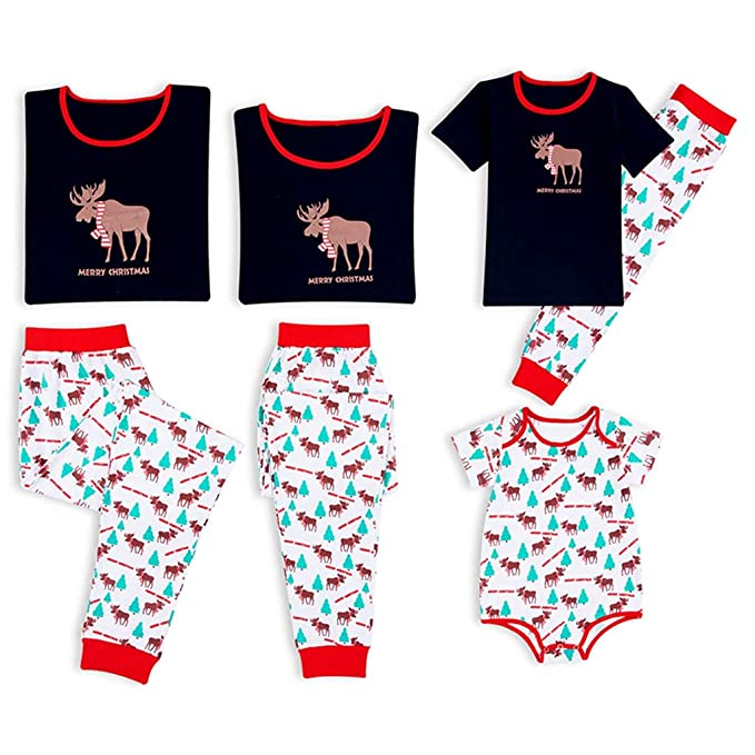f6e3e911ec Amazon.com  PatPat Family Matching Christmas Pajamas Set Reindeer Print Top  and Pants PJS Sleepwear for Kids Adult  Clothing