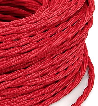 3 Mt Cavo elettrico Treccia Trecciato stile vintage rivestito in tessuto colorato Rosso sezione 2x0,75 per lampadari, lampade, abat jour, design. Made in Italy MeToo Design