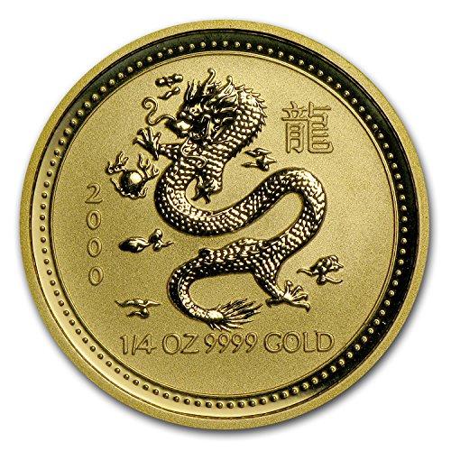 2000 AU Australia 1/4 oz Gold Lunar Dragon BU (Series I) Gold Brilliant Uncirculated