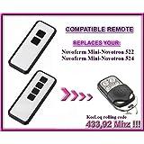 Novoferm Mini-Novotron 522 Design, Novoferm Mini-Novotron 524 Design *NEW DESIGN compatible mando a destancia 433,92Mhz rolling code, 4-canales reemplazo transmisor Al mejor precio!!!