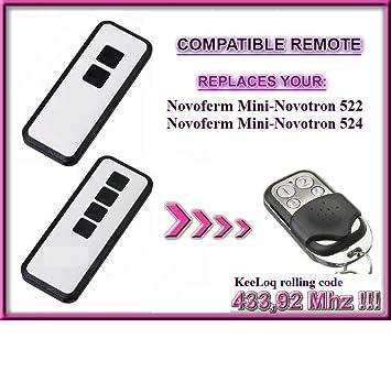 MNHS433/ /02 433,92/mhz rolling code keyfob transmisor de reemplazo NOVOFERM NOVOTRON MNHS433/ /04/compatible de 4/canales mando a distancia