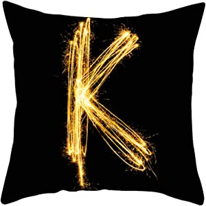 Pillow Covers 18 x 18 Velvet Soft 26 English Letters Series Square Throw Pillow Covers, Zipper Closure Cushion Pillowcase Cover Black Pillow Protectors for Sofa Bedding Car and Couch Pillows K