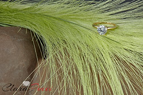 Clara Pucci 2.0 CT Brilliant Round Cut Simulated Diamond CZ Designer 4-Prong Solitaire Anniversary Promise Bridal Wedding Ring Solid 14k Yellow Gold by Clara Pucci (Image #3)