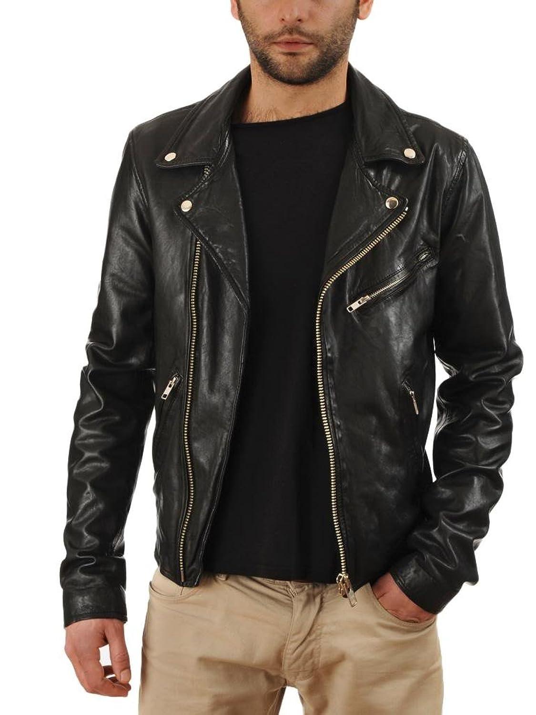 Leather4u Men's Lambskin Leather jacket KL710 Black